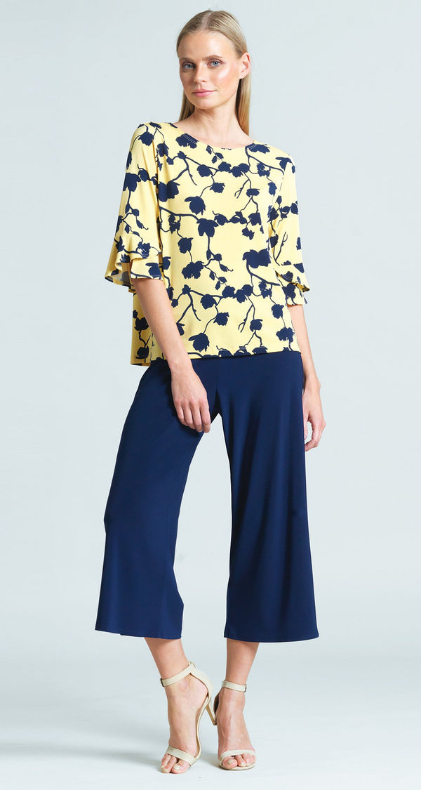 Floral Print Back Tie Tulip Cuff Top - Yellow/Navy - Final Sale!