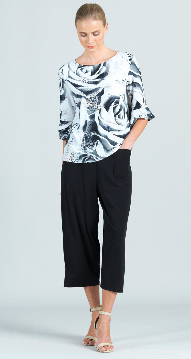 Reversible White Rose Print Back Tie Tulip Cuff Top - Limited Sizes!