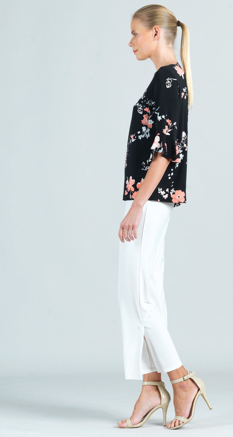 Reversible Floral Print Back Tie Tulip Cuff Top - Final Sale!