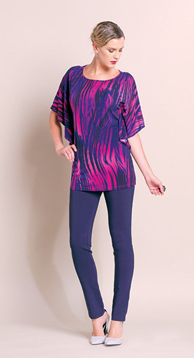 Print Knit Cascade Sleeve Tunic - Fuchsia - Final Sale!