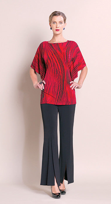 Print Knit Cascade Sleeve Tunic - Red - Final Sale!