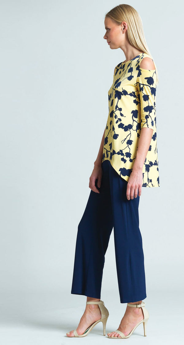 Floral Print Open Shoulder Hi-Low Tunic - Yellow/Navy - Final Sale!