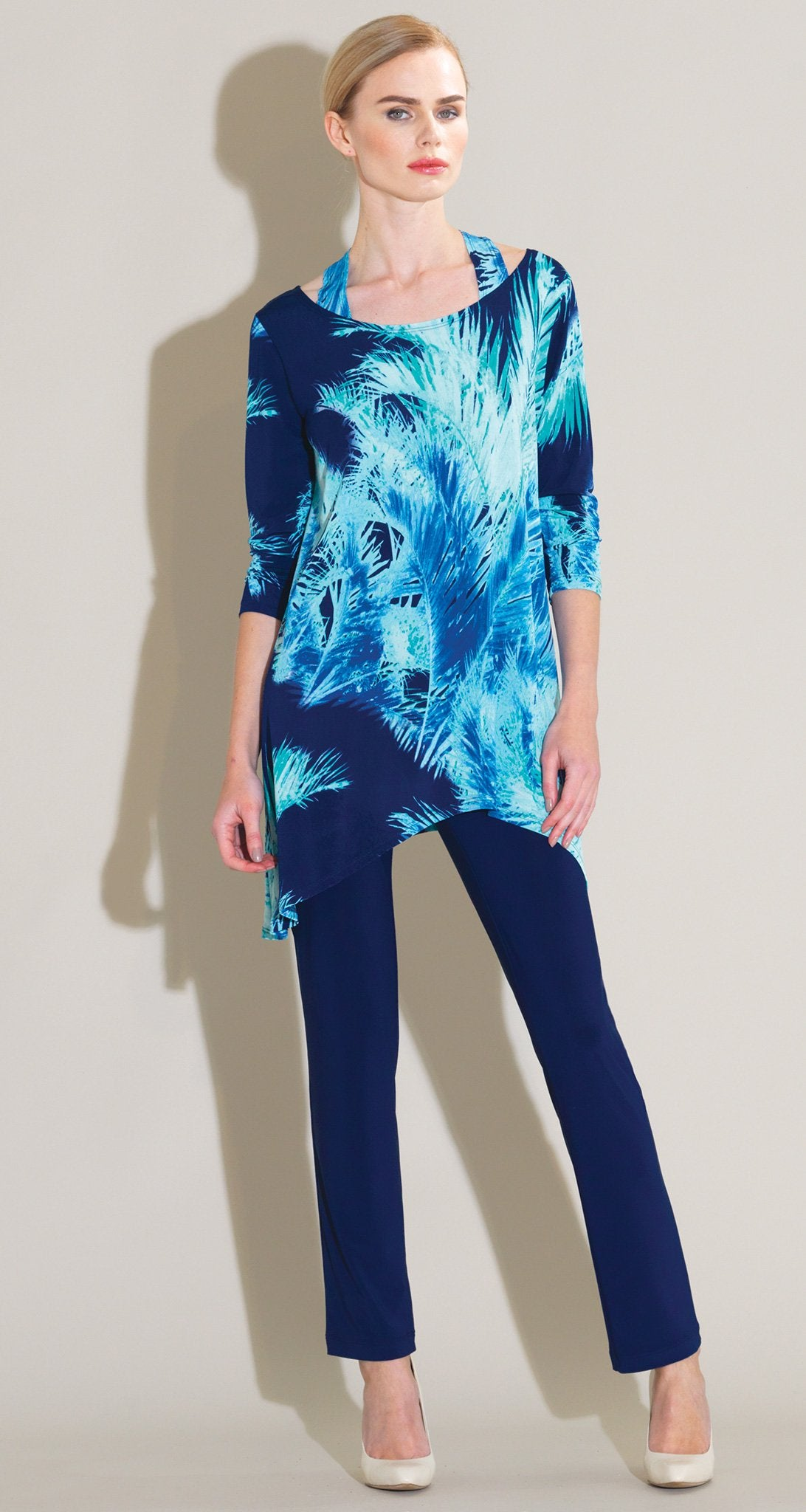 Palm Print Faux Racer Back Tunic - Peri/Navy