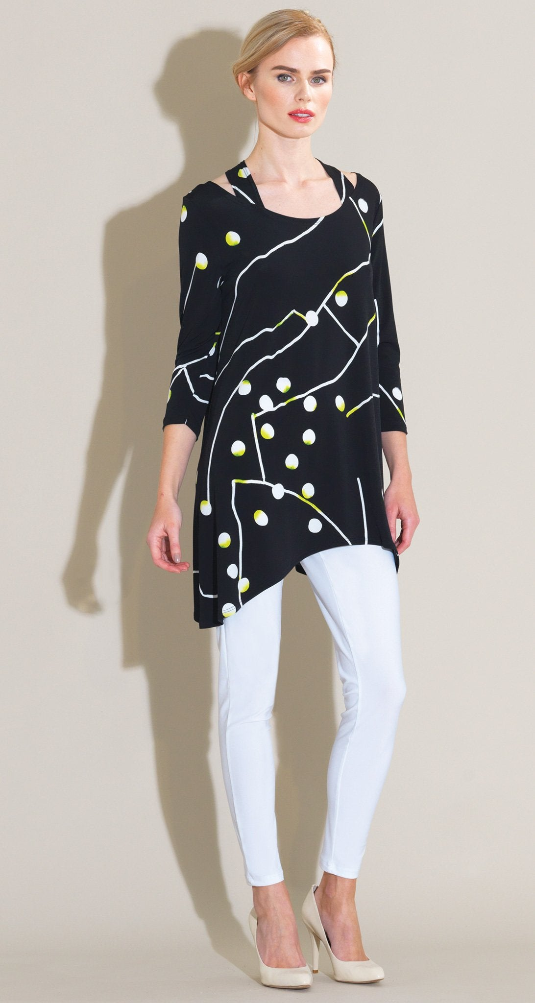 Dots & Lines Print Faux Racer Back Tunic - Black/White