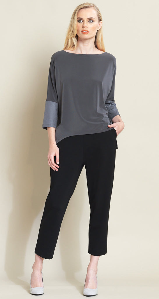 Liquid Leather Sleeve Loose Cut Top - Charcoal - Final Sale!