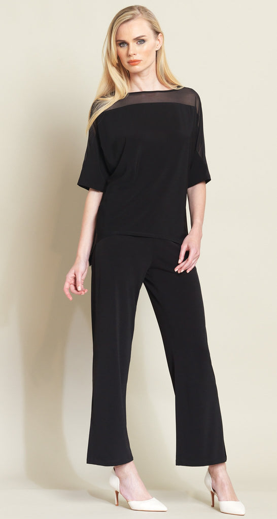 Mesh Trimmed Loose Cut Top - Black