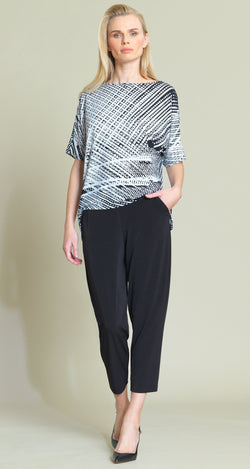 Thread Print Loose Cut Top - Black/White