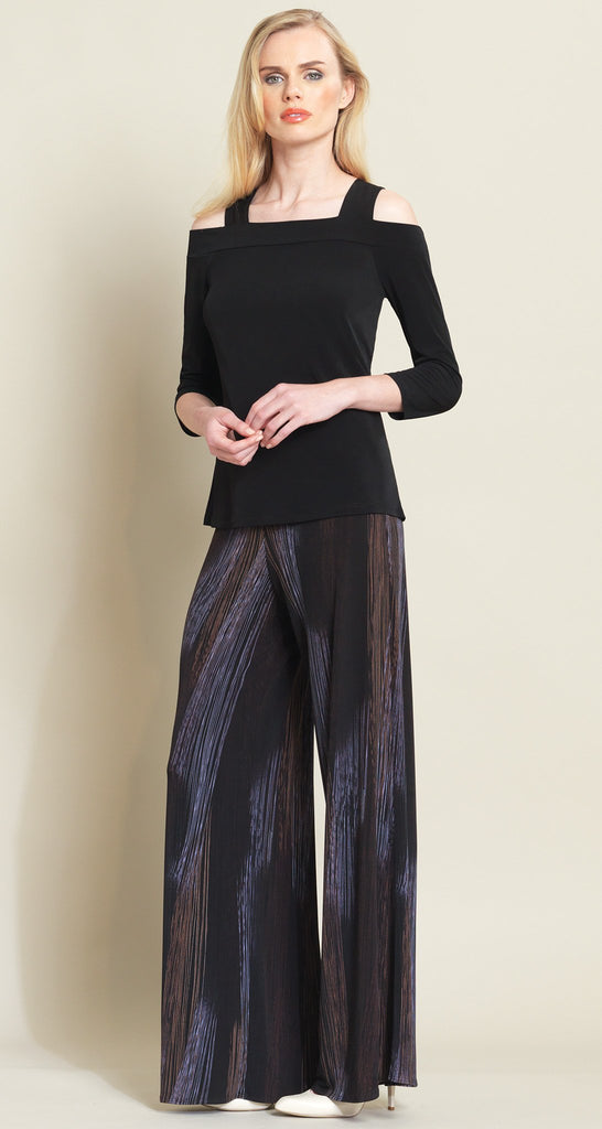 Pin Stripe Print Palazzo Pant - Black/Brown