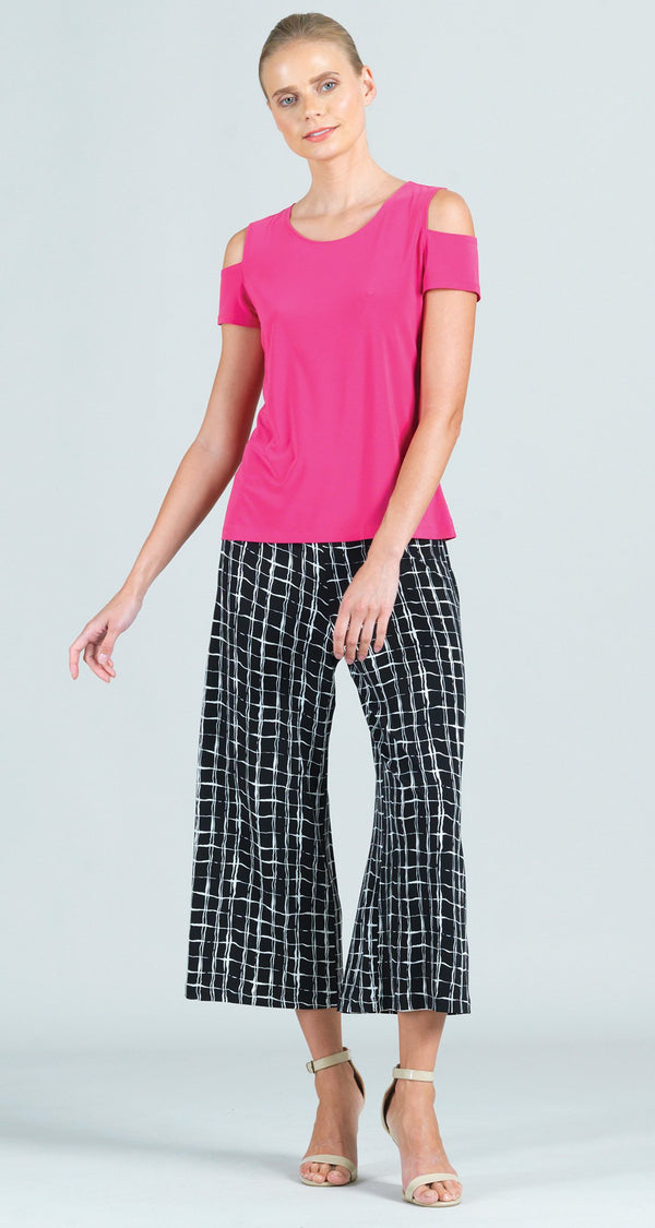Geo Square Print Modern Pull On Gaucho Pant