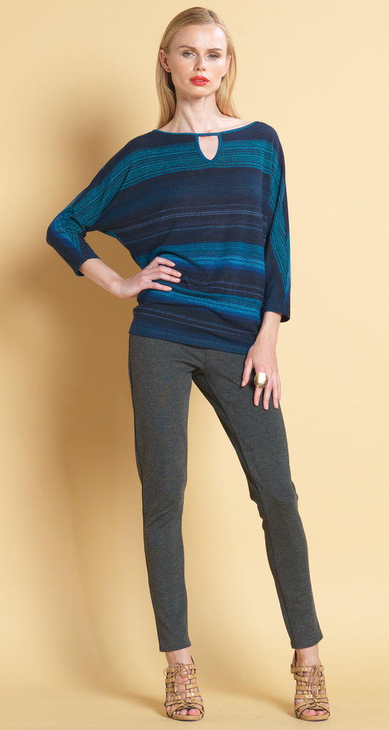 Keyhole Stripe Print Sweater - Blue - Final Sale!