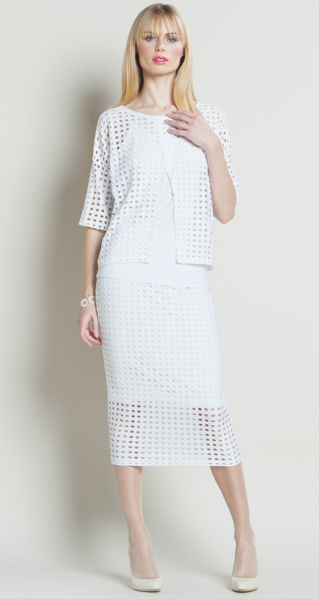 Perforated Knit Reversible Over-Layer Box Top - White - Final Sale!