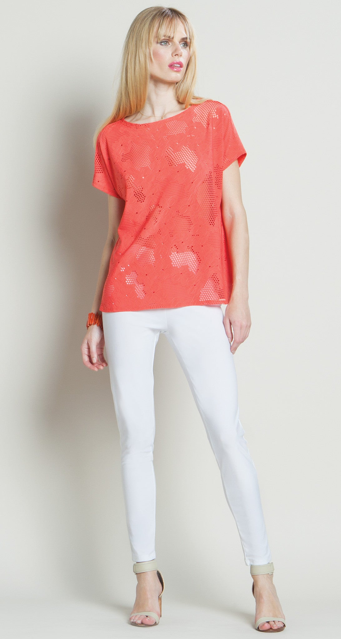 Eyelet Butter Soft Top - Coral - Final Sale! - Clara Sunwoo
