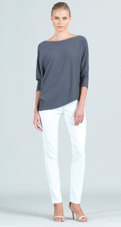 Modal Cotton Knit Dolman Sleeve Angle Hem Top - Charcoal