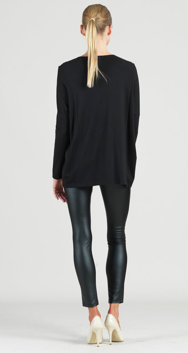 Modal Cotton Knit Rectangular Boat Neck Modern Stitch Tunic - Black - Final Sale!