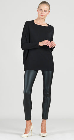 Modal Cotton Knit Rectangular Boat Neck Modern Stitch Tunic - Black