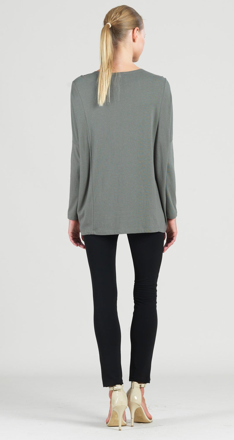Modal Cotton Knit Rectangular Boat Neck Modern Stitch Tunic - Olive