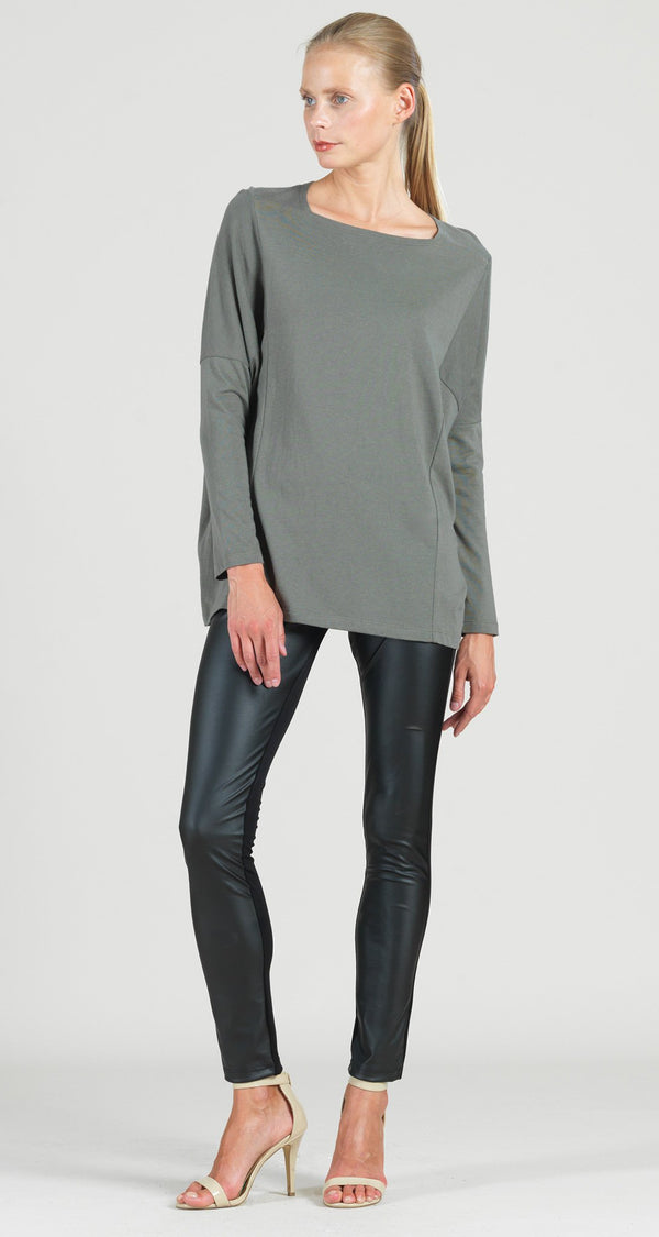 Modal Cotton Knit Rectangular Boat Neck Modern Stitch Tunic - Olive - Final Sale!