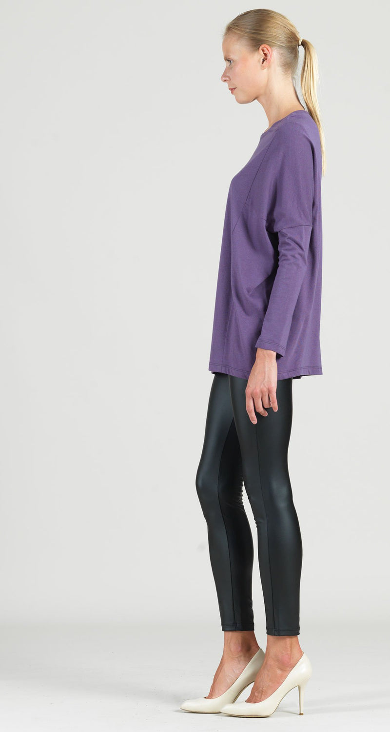 Modal Cotton Knit Rectangular Boat Neck Modern Stitch Tunic - Plum