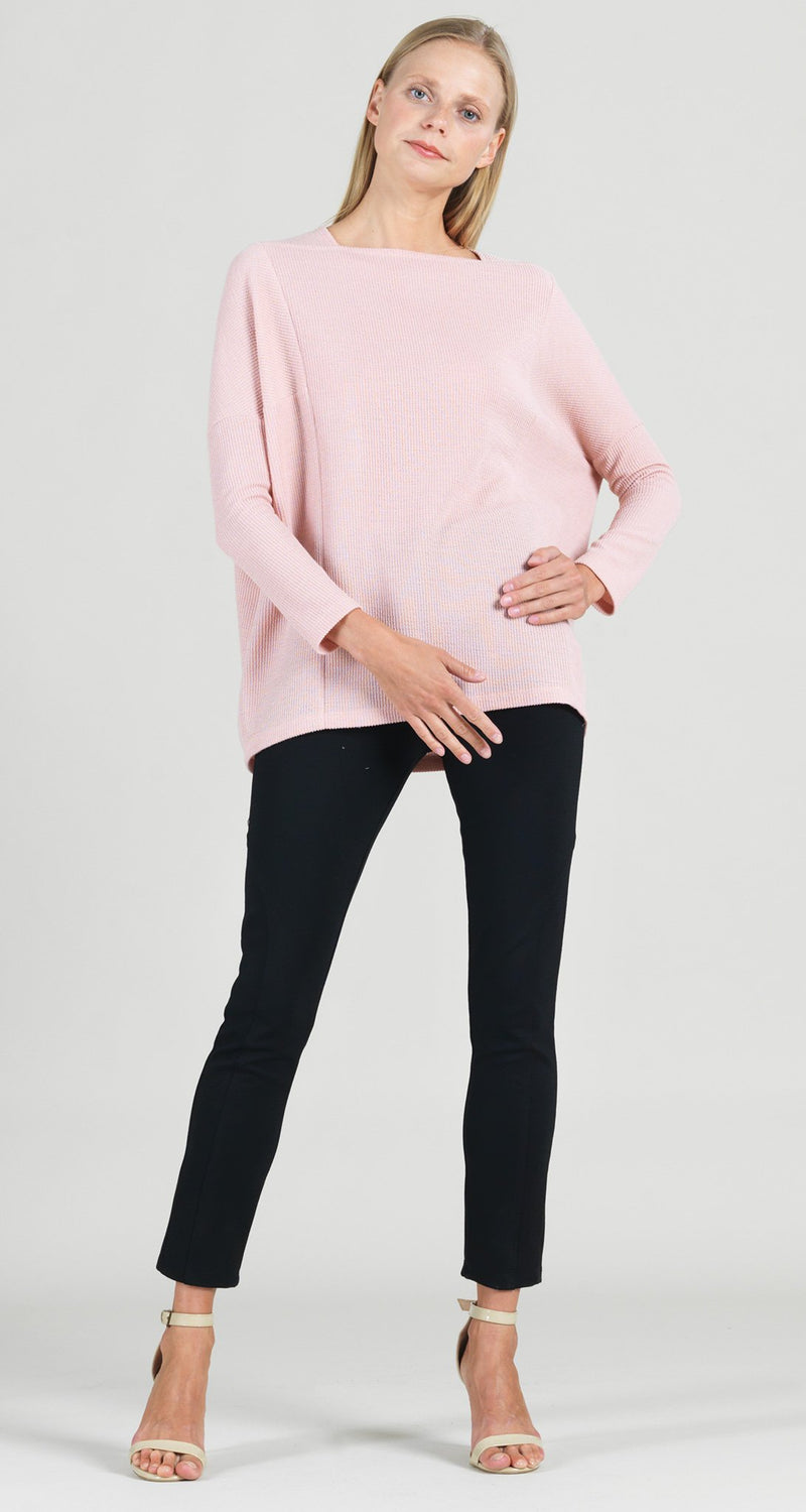 Ribbed Sweater Rectangular Boat Neck Modern Stitch Tunic - Blush - Final Sale!