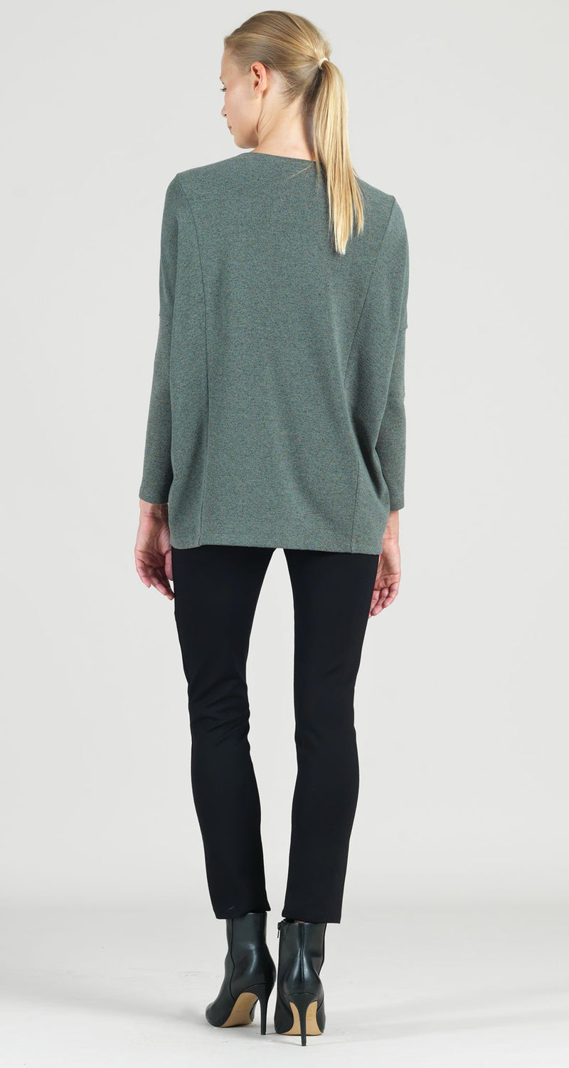 Hacci Sweater Knit Rectangular Boat Neck Modern Stitch Tunic - Olive  - Final Sale!