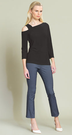 Solid Drop Shoulder Bell Sleeve Top - Black - Limited Sizes!