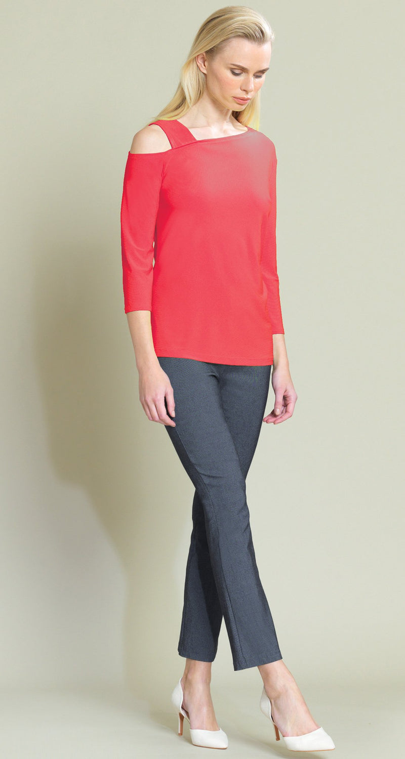 Solid Drop Shoulder Bell Sleeve Top - Coral - Limited Sizes - XS