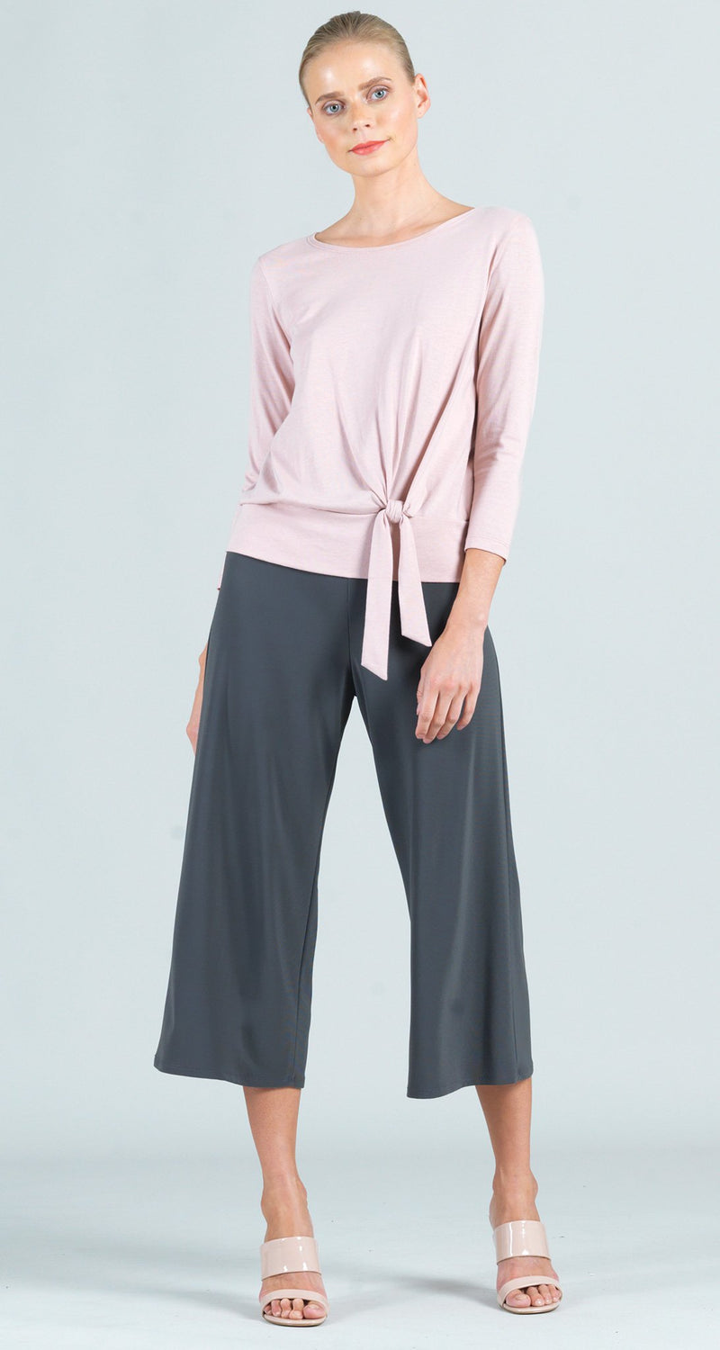 Modal Cotton Knit Side Tie Top - Mauve