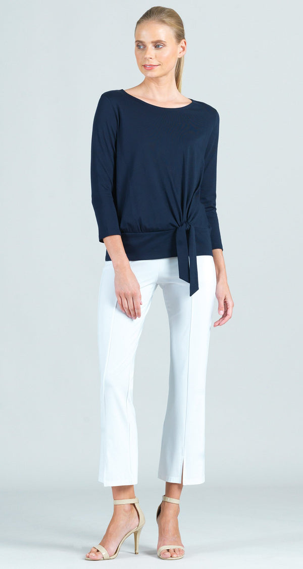 Modal Cotton Knit Side Tie Top - Navy
