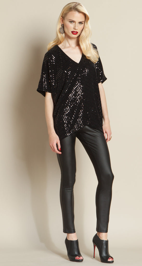 Shimmer V-Neck Top - Black - Final Sale