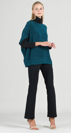 Soft Open Ribbed Batwing Cape Sleeve Sweater Top - Hunter Green