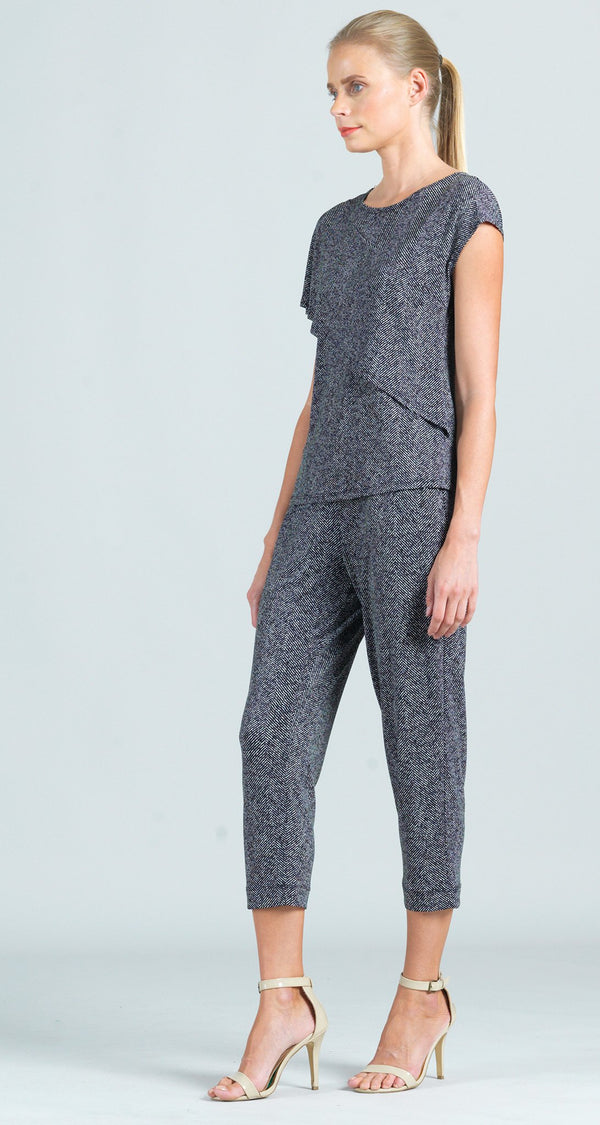 Herringbone Print Jogger Pocket Capri - Limited Sizes!