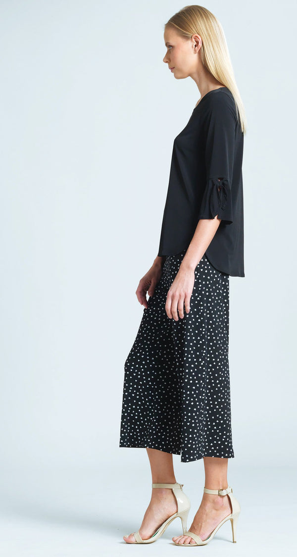 Solid Tie Cuff Top - Black