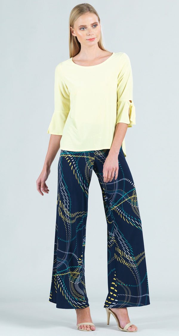 Solid Tie Cuff Top - Yellow