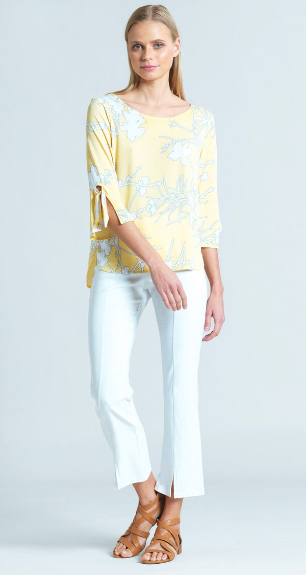 Floral Print Tie Cuff Top - Yellow/White - Final Sale!