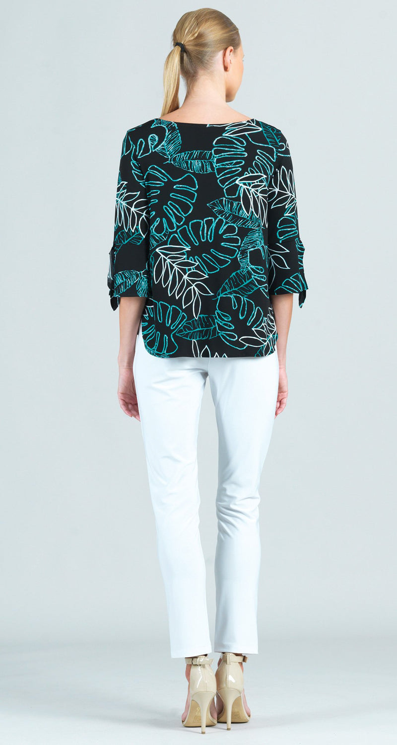 Tropical Leaf Sketch Print Tie Cuff Top