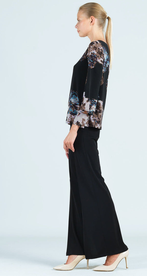 Mosaic Print Peekaboo Cuff Sleeve Top - Black Multi - Final Sale!