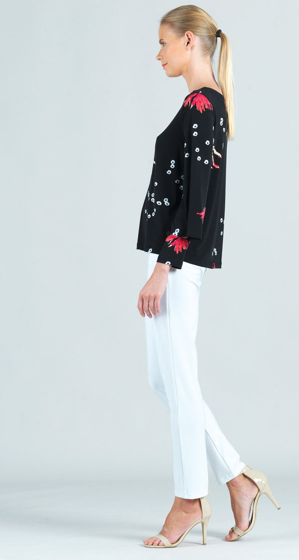 Floral Flake Print Peekaboo Cuff Sleeve Top - Final Sale!