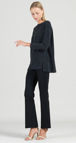 Waffle Knit Herringbone Stitch Button Shoulder Sweater Tunic - Charcoal