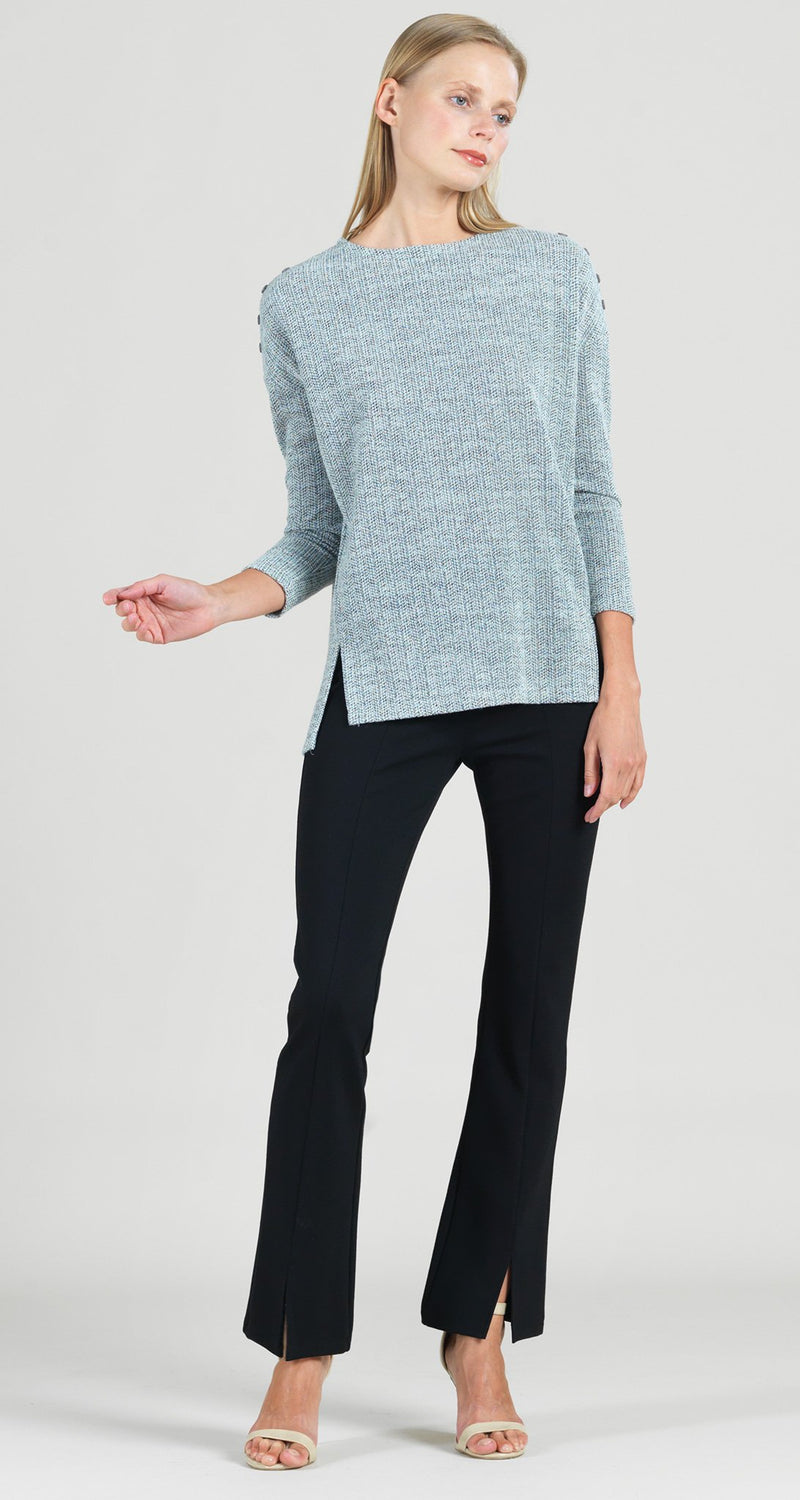 Waffle Knit Herringbone Stitch Button Shoulder Sweater Tunic - Oatmeal