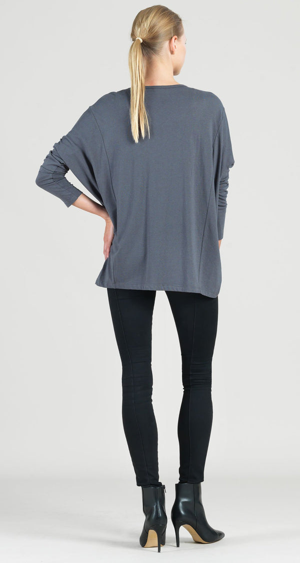 Modal Cotton Knit Modern Stitch Hi-Low Envelope Hem Tunic - Charcoal - Final Sale!