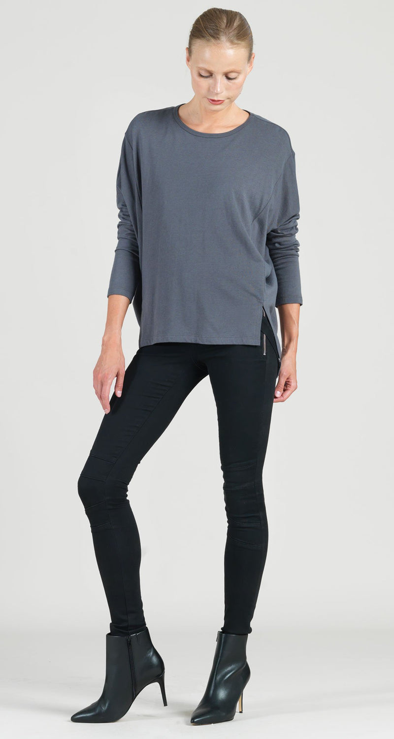 Modal Cotton Knit Modern Stitch Hi-Low Envelope Hem Tunic - Charcoal