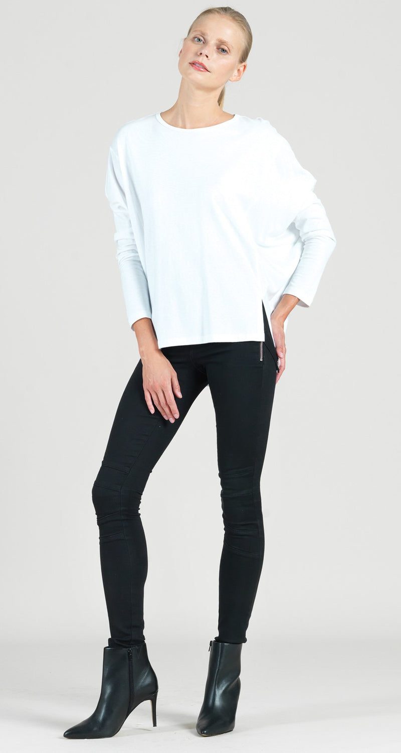 Modal Cotton Knit Modern Stitch Hi-Low Envelope Hem Tunic - White - Final Sale!