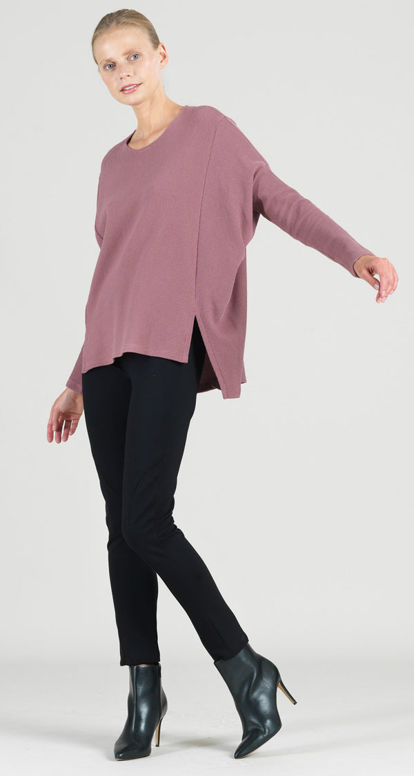 Ribbed Cotton Knit Hi-Low Sweater Tunic - Mauve - Final Sale!