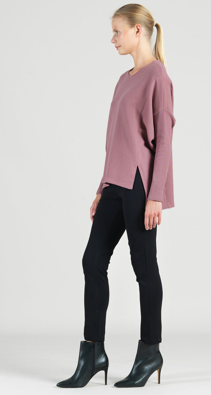 Ribbed Cotton Knit Hi-Low Sweater Tunic - Mauve