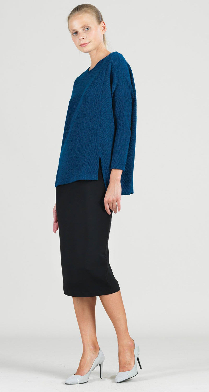 Cozy Twill Modern Stitch Hi-Low Sweater Tunic - French Blue