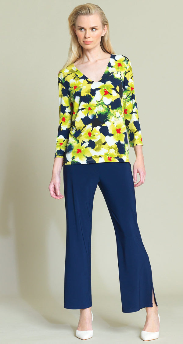 Floral Print Solid V-Neck Top - Green/Navy - Final Sale - Clara Sunwoo