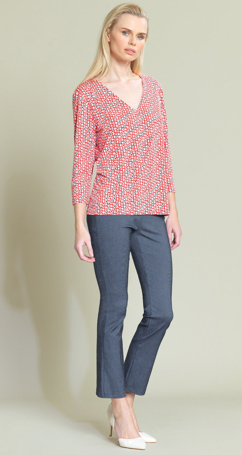 Mini Square Print V-Neck Top - Coral/White - Final Sale - Clara Sunwoo