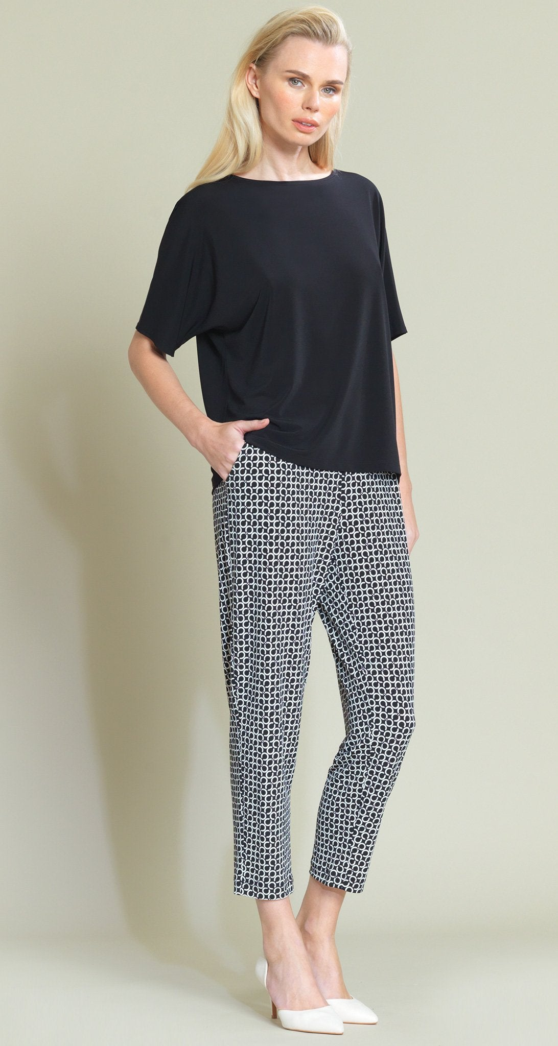 Chain Print Jogger Pocket Capri - Black/White - Clara Sunwoo