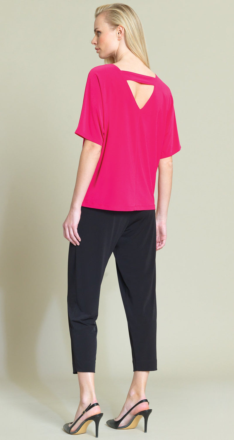 Solid V-Cross Bar Cut-Out Top - Pink - Final Sale - Clara Sunwoo