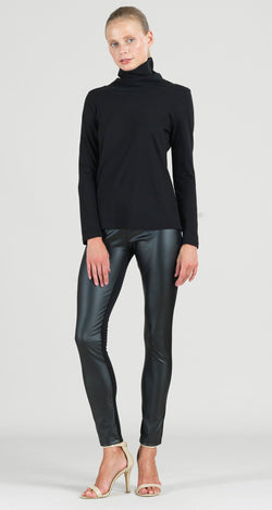 Modal Cotton Knit Turtleneck Long Sleeve Top - Black